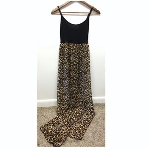 Forever 21 | Leopard Print Sheer Maxi Dress Lined